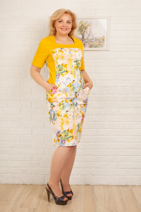 Платье футляр желтого тона цвета 2335.9 d15|интернет-магазин vvlen.com