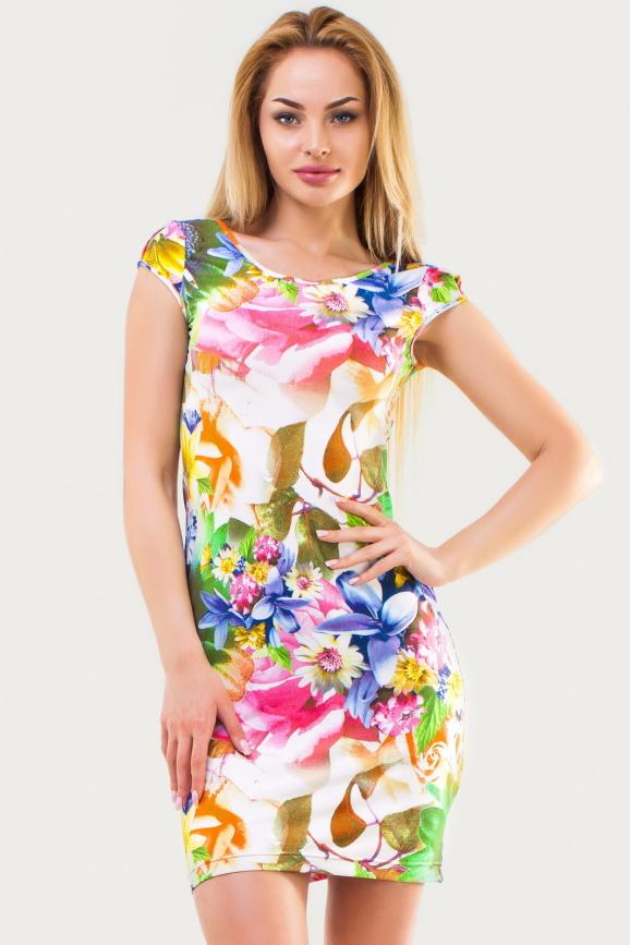 Летнее платье футляр зеленого с розовым цвета|интернет-магазин vvlen.com