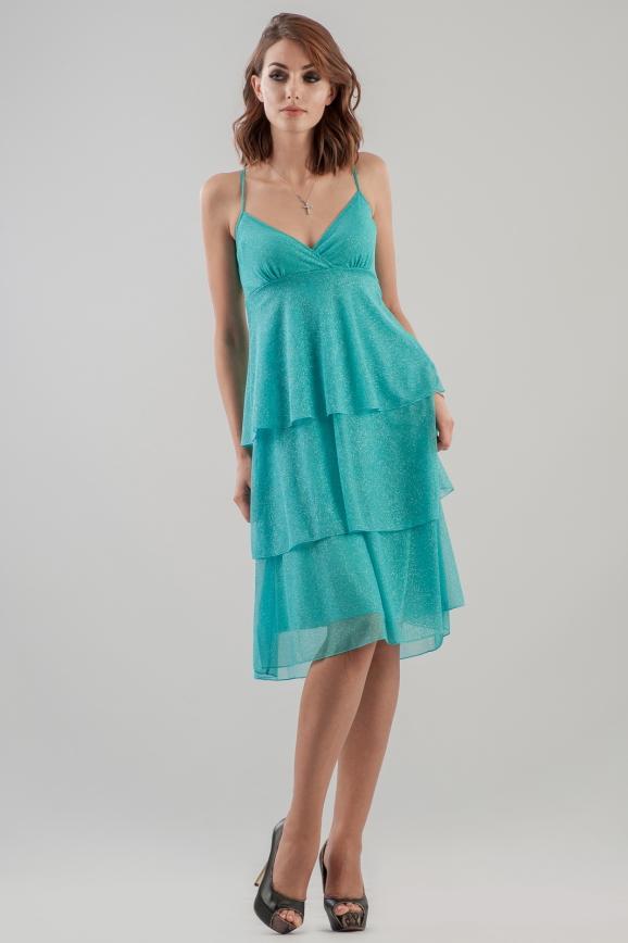 Коктейльное платье с пышной юбкой бирюзового цвета|интернет-магазин vvlen.com