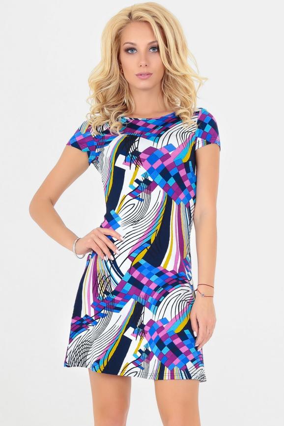 Летнее платье трапеция сиреневого с голубым цвета 1080|интернет-магазин vvlen.com