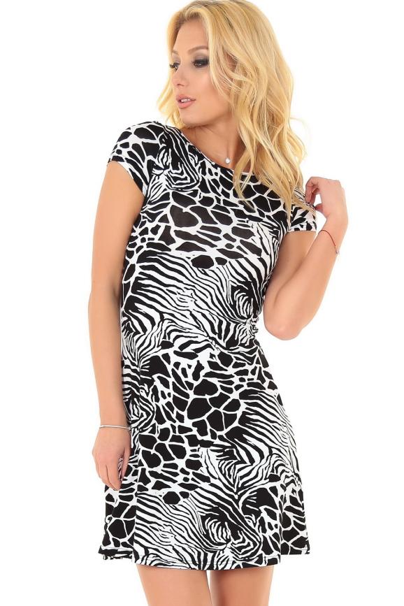Летнее платье с открытой спиной черного с белым цвета|интернет-магазин vvlen.com