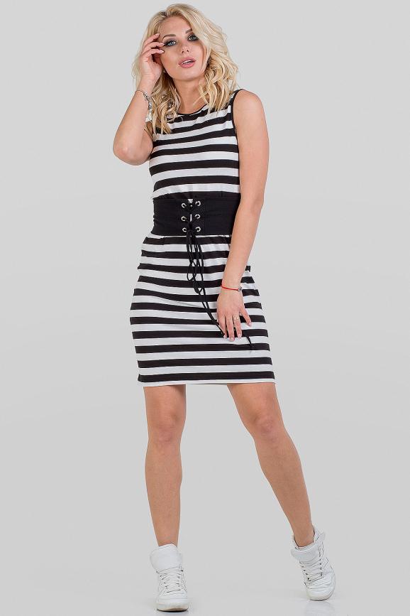 Летнее платье футляр черного с белым цвета 1091.17|интернет-магазин vvlen.com
