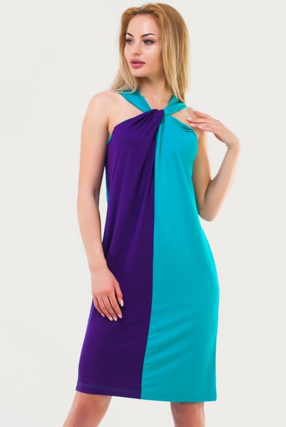 Летнее платье  мешок морской волны цвета 1107.17 интернет-магазин vvlen.com