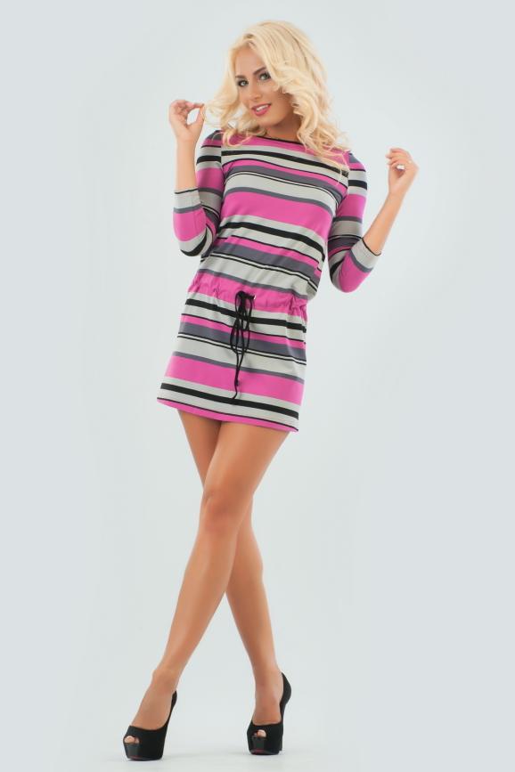 Повседневное спортивное платье серого с розовым цвета 1470.17 интернет-магазин vvlen.com