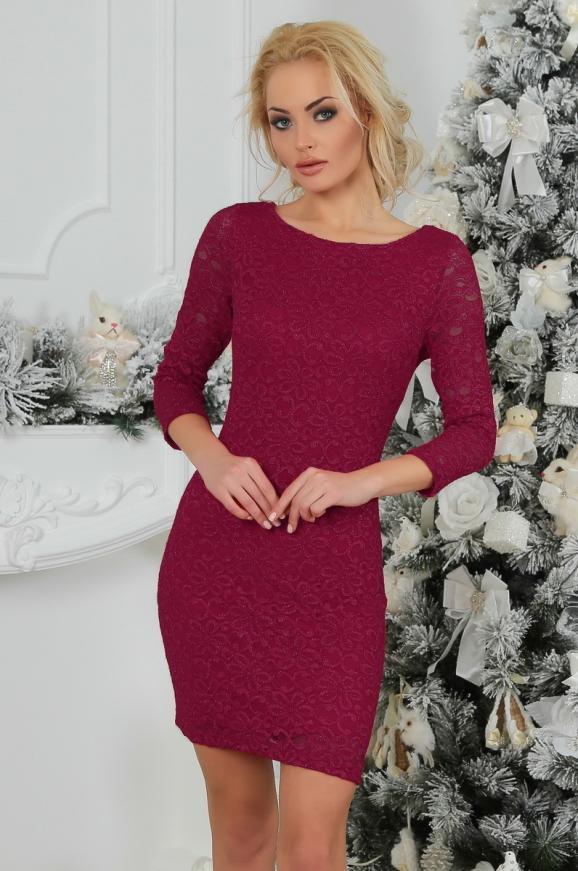 Коктейльное платье футляр бордового цвета 2218.12|интернет-магазин vvlen.com