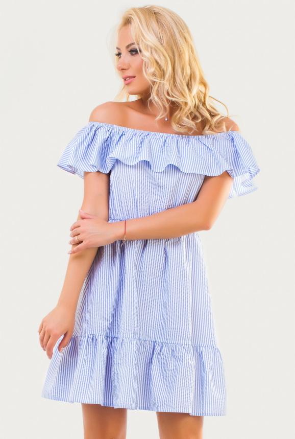 Повседневное платье с пышной юбкой голубой полоски цвета 2373.93|интернет-магазин vvlen.com