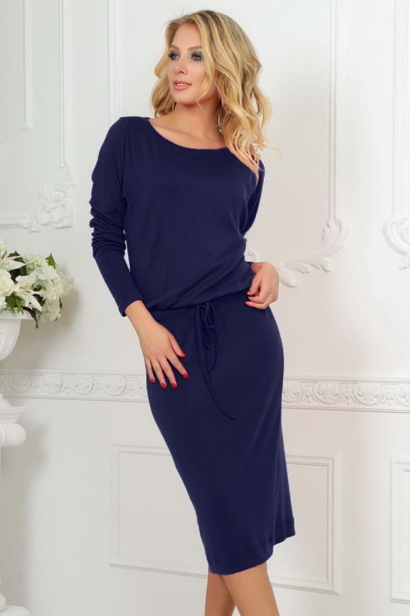 Повседневное платье футляр темно-синего цвета|интернет-магазин vvlen.com