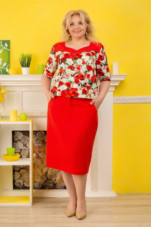 Летнее платье футляр красного с белым цвета 2327.83|интернет-магазин vvlen.com