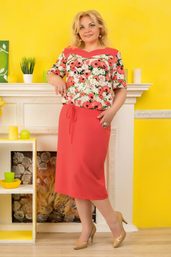 Платье футляр кораллового с белым цвета 2327.83|интернет-магазин vvlen.com