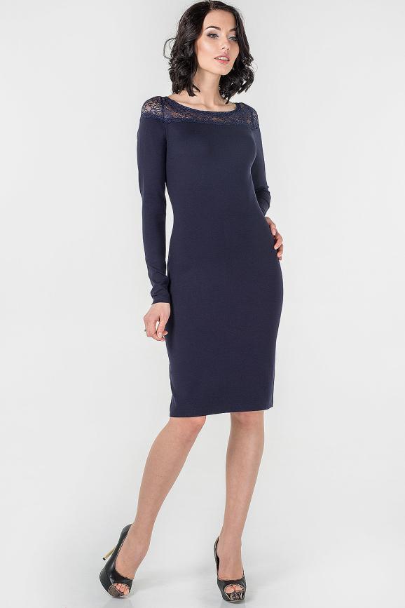 Коктейльное платье футляр темно-синего цвета 1413.47|интернет-магазин vvlen.com