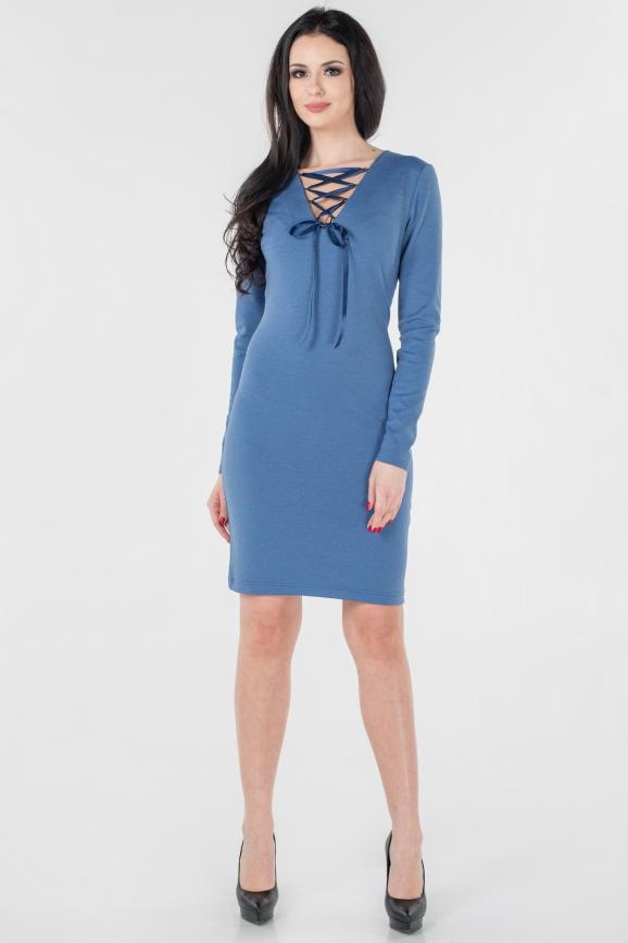 Повседневное платье футляр джинса цвета 2654.47|интернет-магазин vvlen.com