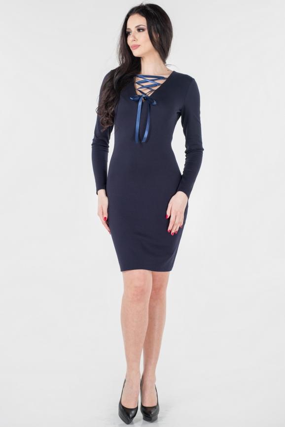 Повседневное платье футляр темно-синего цвета 2654.47|интернет-магазин vvlen.com