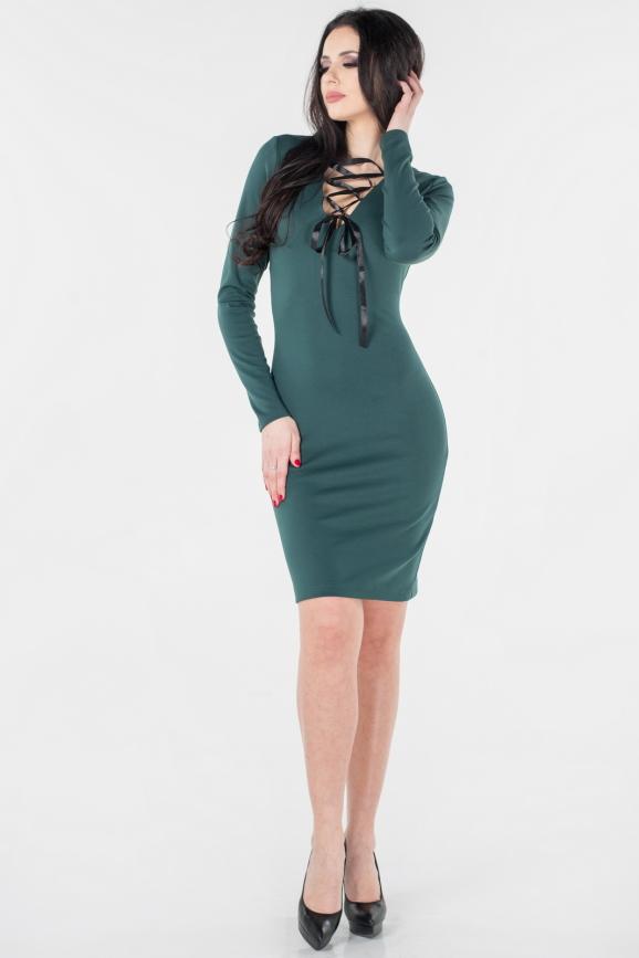 Повседневное платье футляр темно-зеленого цвета 2654.47|интернет-магазин vvlen.com
