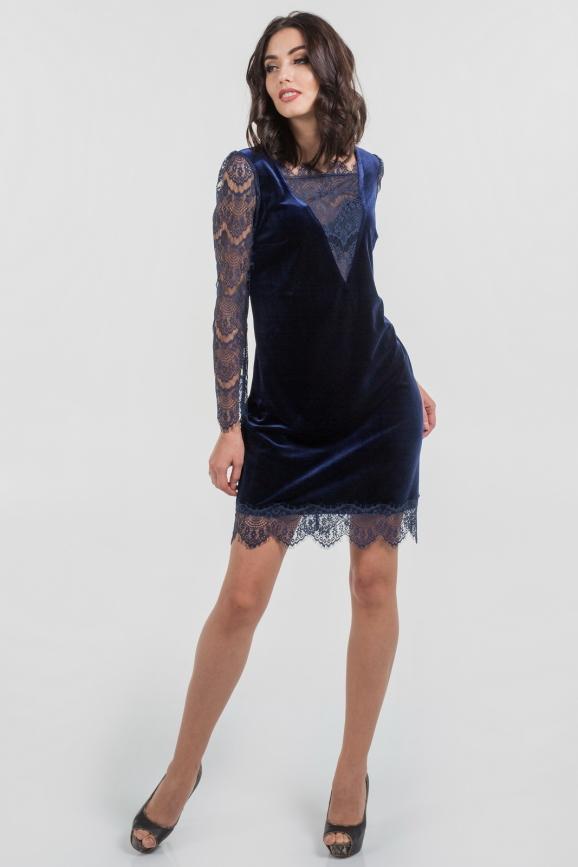 Коктейльное платье трапеция синего цвета 2650.26|интернет-магазин vvlen.com