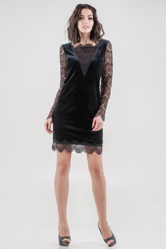 Коктейльное платье трапеция черного цвета 2650.26 интернет-магазин vvlen.com