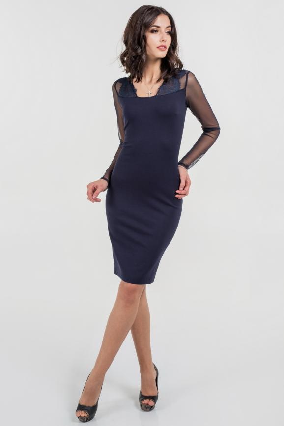 Коктейльное платье футляр темно-синего цвета 1682.47 интернет-магазин vvlen.com