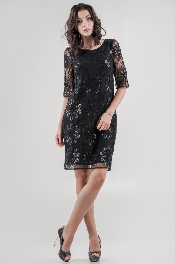 Коктейльное платье трапеция черного цвета 2525-1.10 интернет-магазин vvlen.com