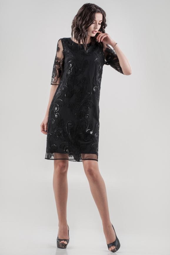 Коктейльное платье трапеция черного цвета 2525.10|интернет-магазин vvlen.com