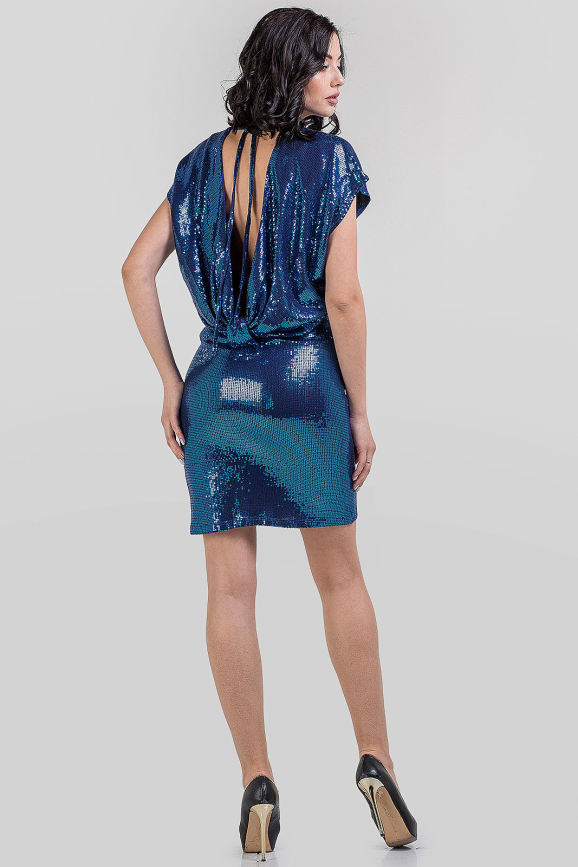 Коктейльное платье с открытой спиной синего цвета 1-2804 интернет-магазин vvlen.com
