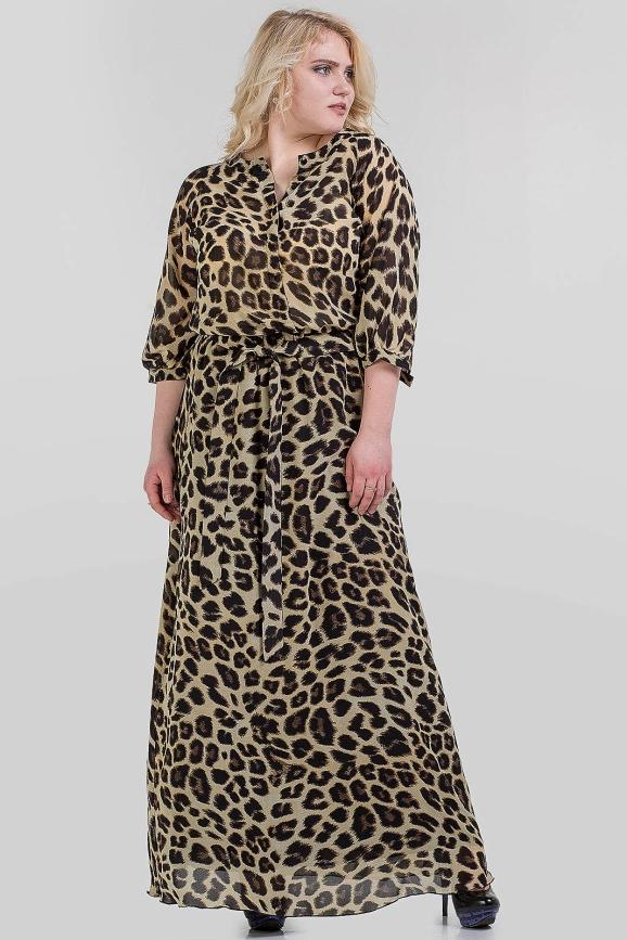 Платье с расклешённой юбкой коричнево-желтого тона цвета 1-2808 интернет-магазин vvlen.com