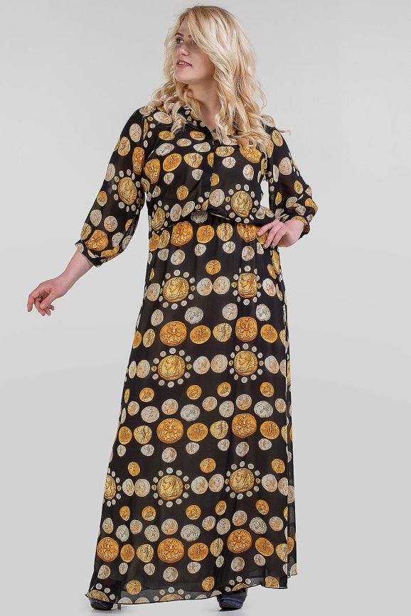 Платье с расклешённой юбкой черного с оранжевым цвета |интернет-магазин vvlen.com
