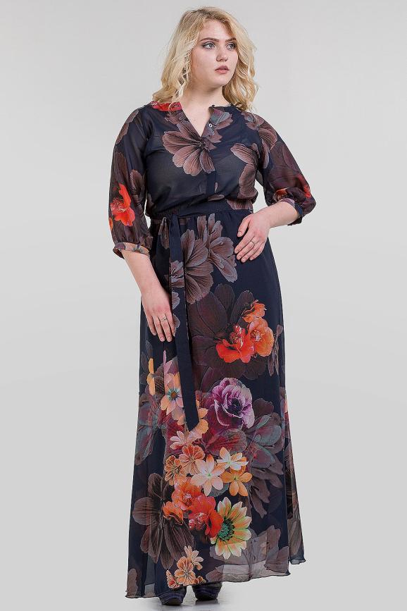 Платье с расклешённой юбкой синего с розовым цвета 1-2808 интернет-магазин vvlen.com