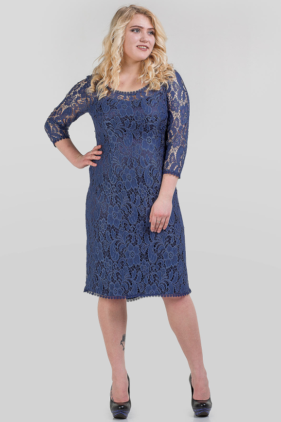 Платье футляр синего цвета 1-2809  интернет-магазин vvlen.com