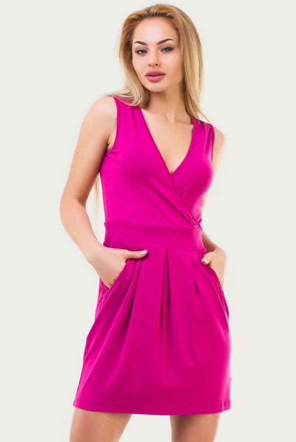 Летнее платье с юбкой тюльпан малинового цвета 1506.17|интернет-магазин vvlen.com