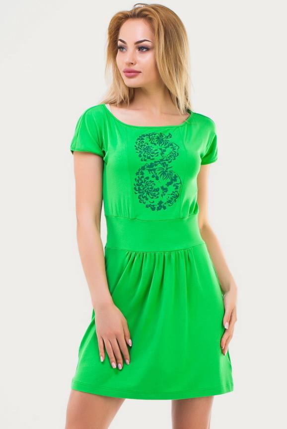 Летнее платье с пышной юбкой зеленого цвета|интернет-магазин vvlen.com