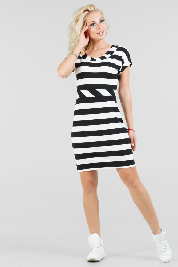 Повседневное летнее платье в черно-белую полоску интернет-магазин vvlen.com