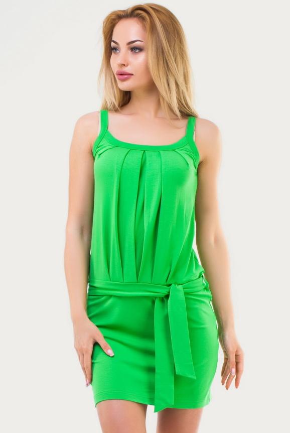 Летнее платье майка зеленого цвета 1526.17|интернет-магазин vvlen.com
