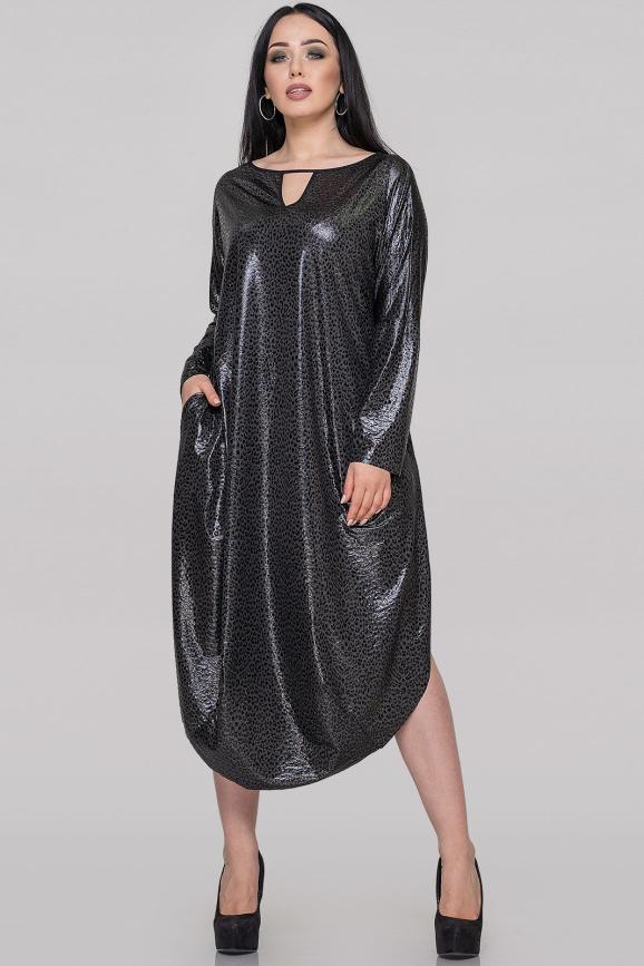 Платье оверсайз черного цвета 2424-2.13|интернет-магазин vvlen.com