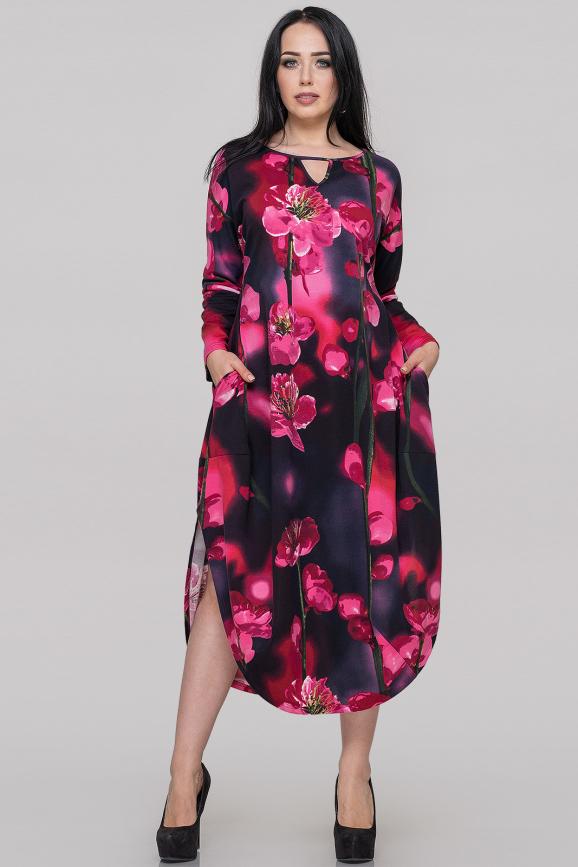 Платье оверсайз малинового принта цвета|интернет-магазин vvlen.com