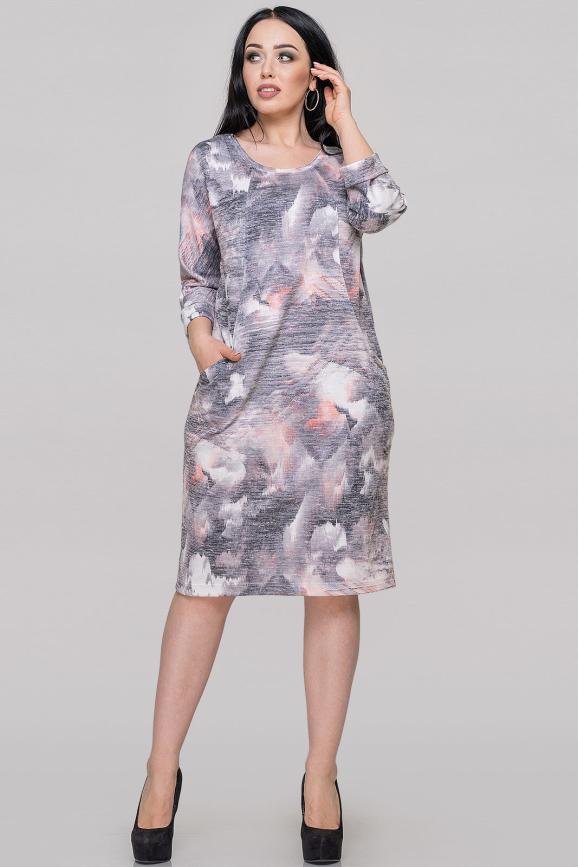 Платье футляр серого с оранжевым цвета 2728.103|интернет-магазин vvlen.com