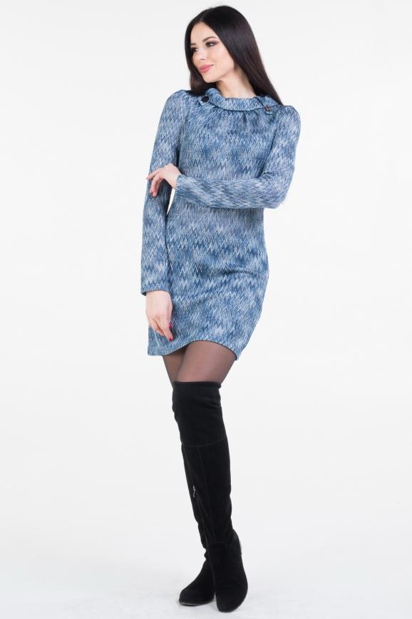 Повседневное платье футляр голубого цвета 1232.42|интернет-магазин vvlen.com