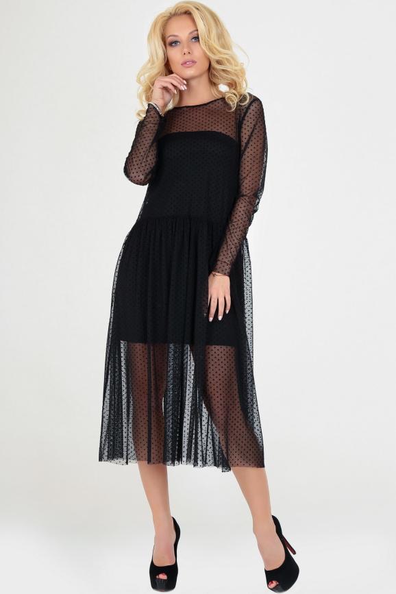 Клубное платье с пышной юбкой черного цвета 2094-3.10|интернет-магазин vvlen.com