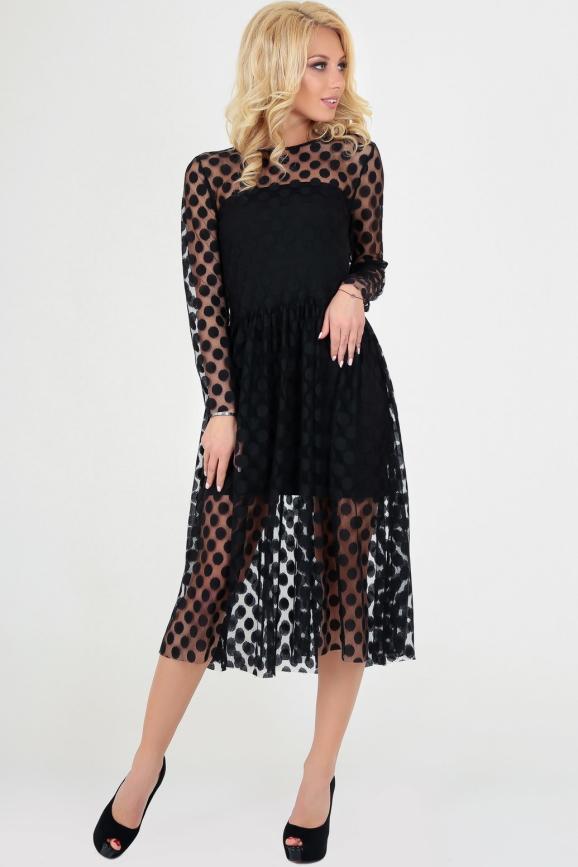 Клубное платье с пышной юбкой черного гороха цвета 2094-3.10|интернет-магазин vvlen.com