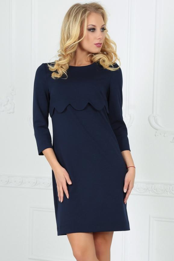 Повседневное платье футляр темно-синего цвета 2488.47|интернет-магазин vvlen.com