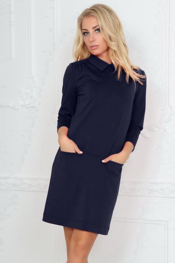 Офисное платье футляр темно-синего цвета 2494.47|интернет-магазин vvlen.com