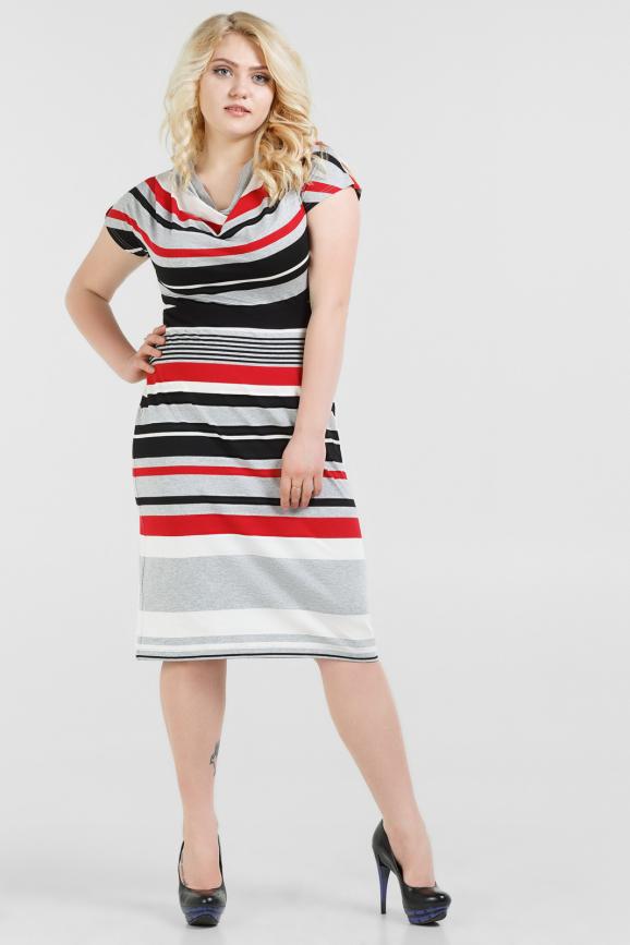 Летнее платье футляр черного с красным цвета 1276.17-22|интернет-магазин vvlen.com