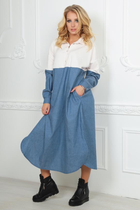 Платье оверсайз голубого с белым цвета|интернет-магазин vvlen.com