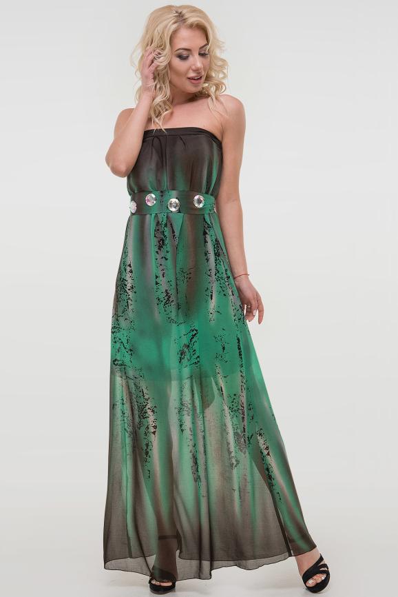 Летнее платье с открытыми плечами зеленого тона цвета|интернет-магазин vvlen.com