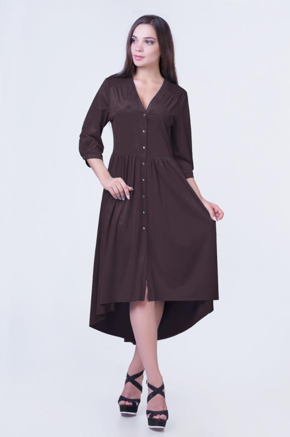 Коктейльное платье с расклешённой юбкой коричневого цвета 2380.86|интернет-магазин vvlen.com
