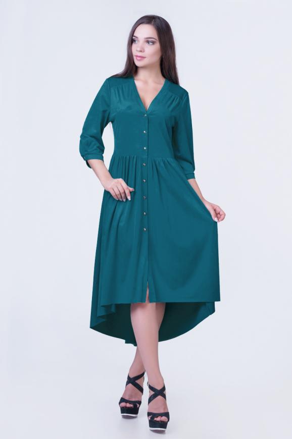Коктейльное платье с расклешённой юбкой зеленого цвета|интернет-магазин vvlen.com