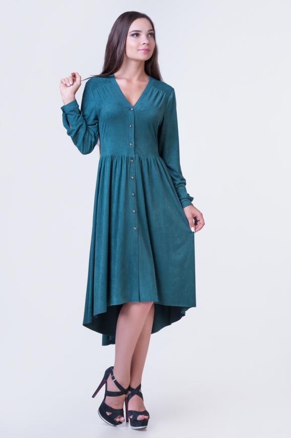 Коктейльное платье с расклешённой юбкой зеленого цвета 2380-1.86|интернет-магазин vvlen.com