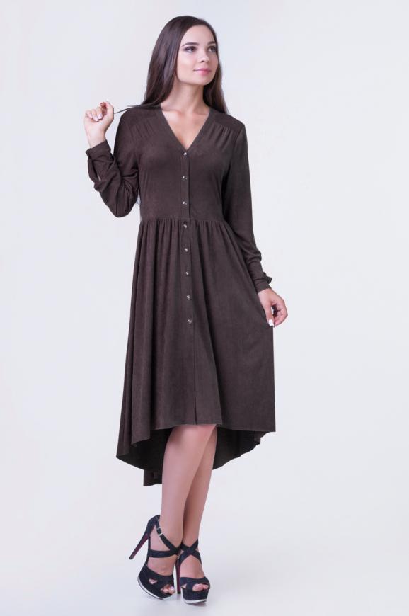Коктейльное платье с расклешённой юбкой коричневого цвета 2380-1.86|интернет-магазин vvlen.com