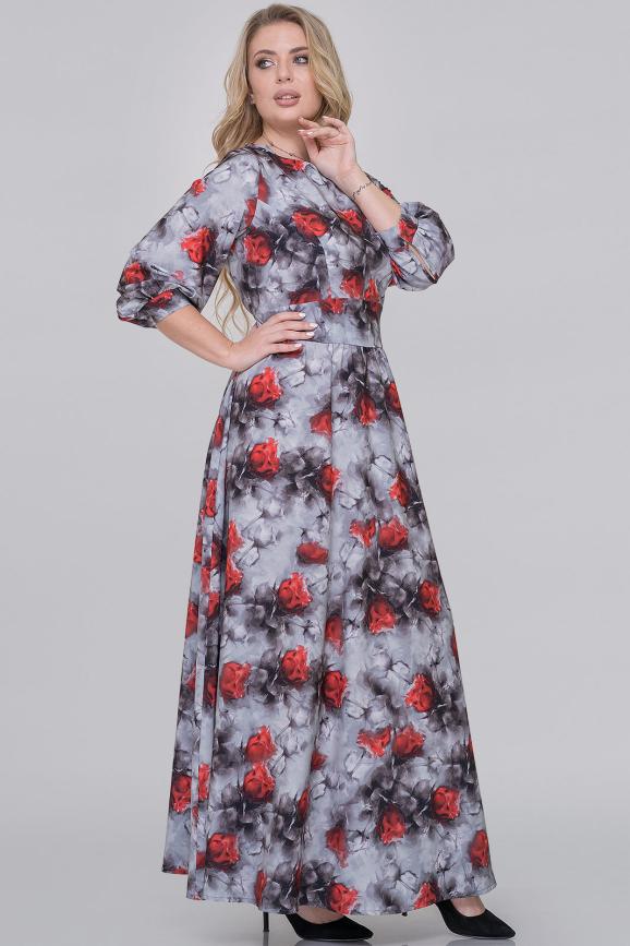 Вечернее платье с длинной юбкой серый с красным цвета интернет-магазин vvlen.com