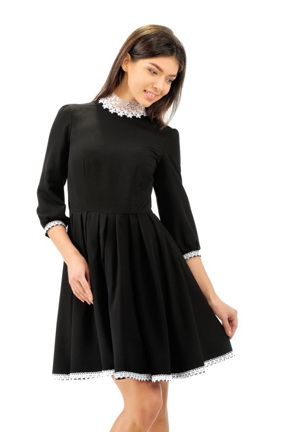 Офисное платье с расклешённой юбкой черного цвета|интернет-магазин vvlen.com