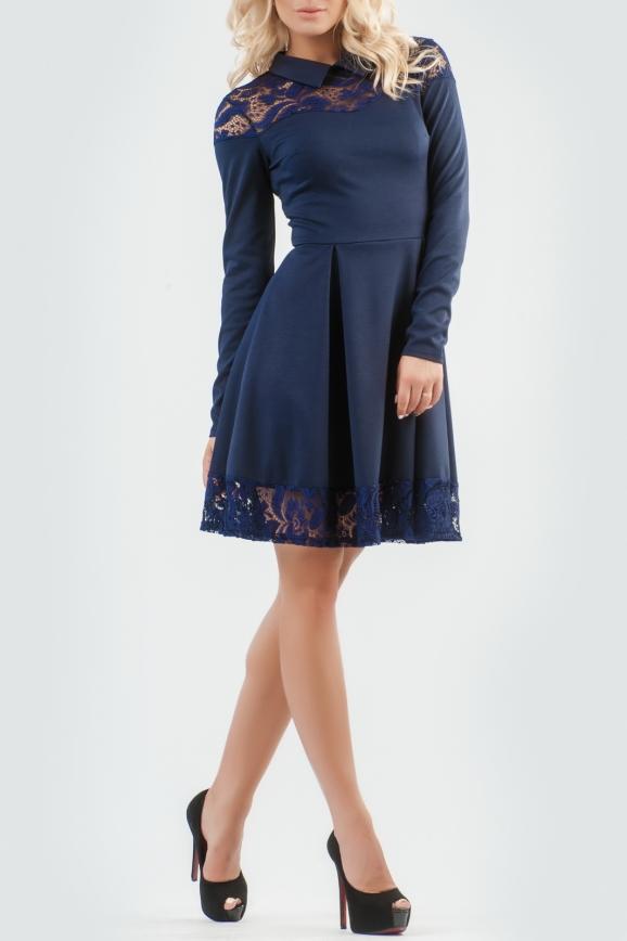 Офисное платье с расклешённой юбкой темно-синего цвета|интернет-магазин vvlen.com