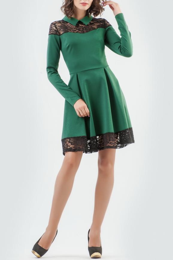 Повседневное платье с расклешённой юбкой зеленого с черным цвета|интернет-магазин vvlen.com